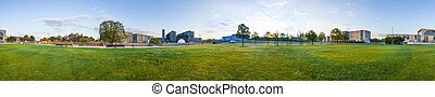 panorama of Spreebogen park in Berlin with government...