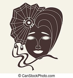 Vector icon of carnival mask on beige background - Vector...