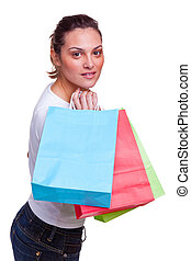 Female with shopping bags