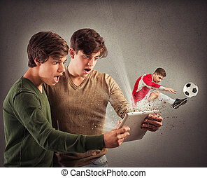 Extraordinary video games - Soccer player comes out of...