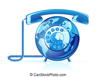 World telephone - Global communication vector icon. World...