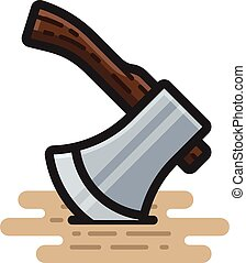 Axe - A spot illustration of an axe with a short handle...