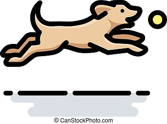 Dog Playing Fetch - A spot illustration of a yellow Labrador...