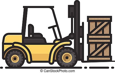 Fork Lift - A spot illustration of a fork lift with two...
