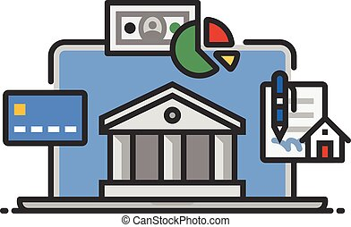 Online Banking - A spot illustration depicting typical...