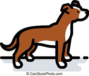 Pit Bull - A spot illustration of a brown and white Pit Bull...