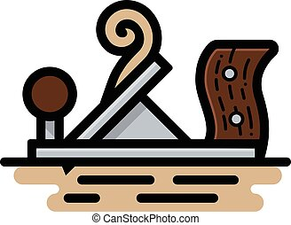 Wood Plane - Spot illustration of a hand/wood plane on a...
