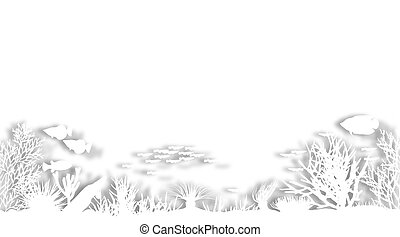 White coral - Illustrated foregound of white cutout sea...