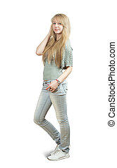 casualy dressed blonde girl - Isolated full length view of...