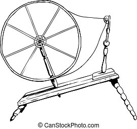 Antique Spinning Wheel Outline - Outlined side view on...