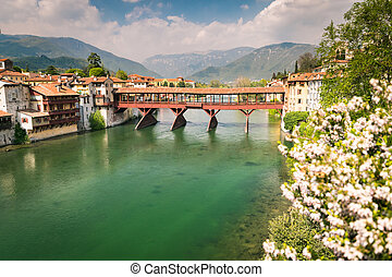 Bridge of the Alpini in Bassano del Grappa, Vicenza, Italy -...