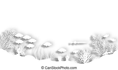 White reef - Illustration of a white cutout sea coral...