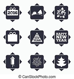 Christmas, new year icons. Gift box, fireworks. - Icons with...
