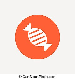 Candy icon Sweet food sign Orange circle button with icon...