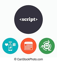 Script sign icon. Javascript code symbol. Mobile payments,...
