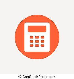 Calculator sign icon Bookkeeping symbol Orange circle button...