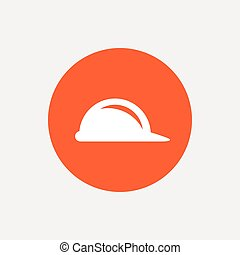 Hard hat sign icon Construction helmet symbol Orange circle...
