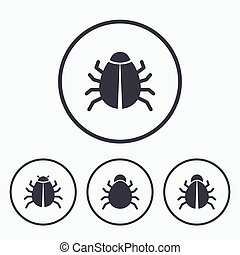 Bugs signs Virus software error icons - Bugs vaccination...