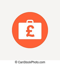 Case with Pounds GBP sign Briefcase button - Case with...