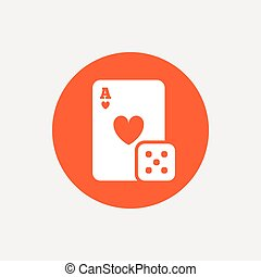 Casino sign icon. Playing card with dice symbol. Orange...