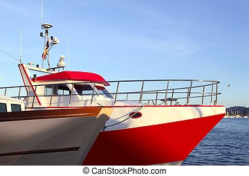 boat bow of professional fishermen in mediterranean sea