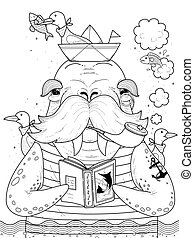 sailor walrus adult coloring page - adult coloring page -...
