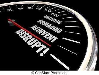 Disrupt Rethink Reimagine Reinvent Speedometer Words Change...