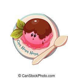 placa, Cuchara, Ilustración,  vector, hielo, crema