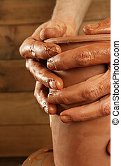 pottery craftmanship clay pottery hands work - pottery...