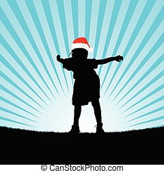 child with christmas hat silhouette illustration