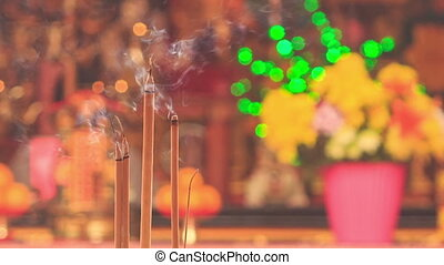 Burning Sticks in Bowls in Front of Altar in Indian Temple -...