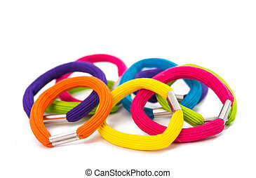 color elastic bands for hair isolated on white background