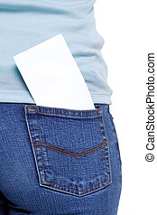 Back pocket with blank paper - Blank piece of paper in the...