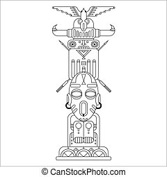 ethnic totem pole - geometric black outline ethnic totem...