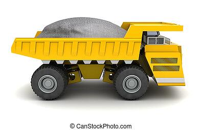 huge dumper - 3d illustration of huge dumper over white...