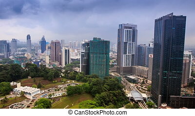Camera Approaches Downtown Skyscrapers in KL - KUALA...