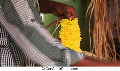 Indian Man Hands Compose Yellow Red Flower Garland - KUALA...