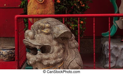 Lion Head and Dragon at Indian Temple Entrance - closeup...