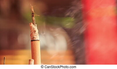 Smoke Flame of Burning Stick in Indian Temple - KUALA...