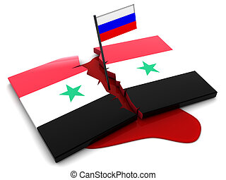 Syrian conflict - 3d illustration of Syria flag and blood,...