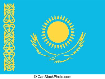 Kazakhstan Flag Flat design style Vector illustration