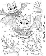 lovely bat adult coloring page - adult coloring page -...