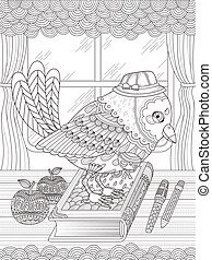 adorable bird adult coloring page - adult coloring page -...