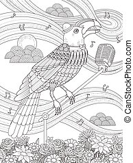 toucan adult coloring page - adult coloring page - toucan...