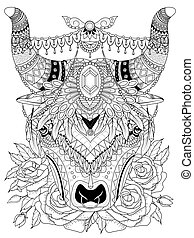 yak adult coloring page - adult coloring page - yak with his...
