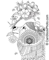 bear adult coloring page - adult coloring page - bear with...