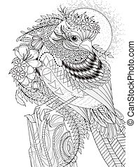 beautiful sparrow adult coloring page - adult coloring page...
