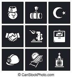 Vector Set of Turkey and Russia Icons. Turk, Gas pipeline,...