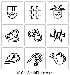 Vector Set of Interrogation Icons Criminal, Prison, Electric...