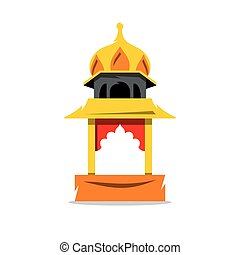 Vector Indian Temple with arch Cartoon Illustration. - The...